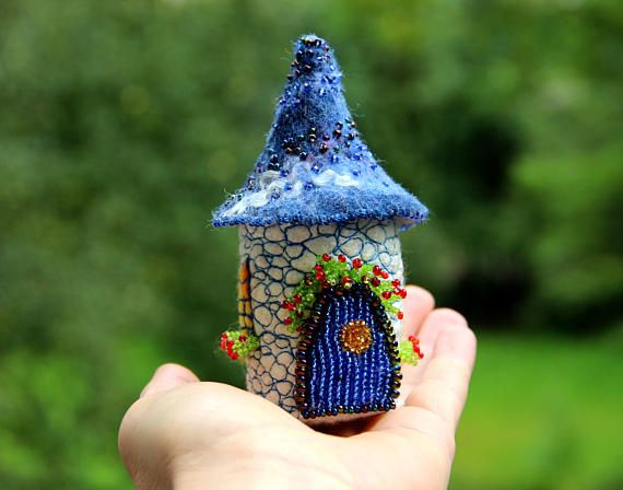 Tooth Fairy House Box Blue Gift Miniature Fairy Garden House