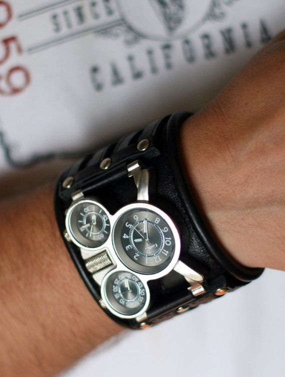 "Mens wrist watch Leather bracelet ""Tuareg-5-Light""- SALE - Worldwide Shipping - Steampunk Watches on Etsy, $180.00"