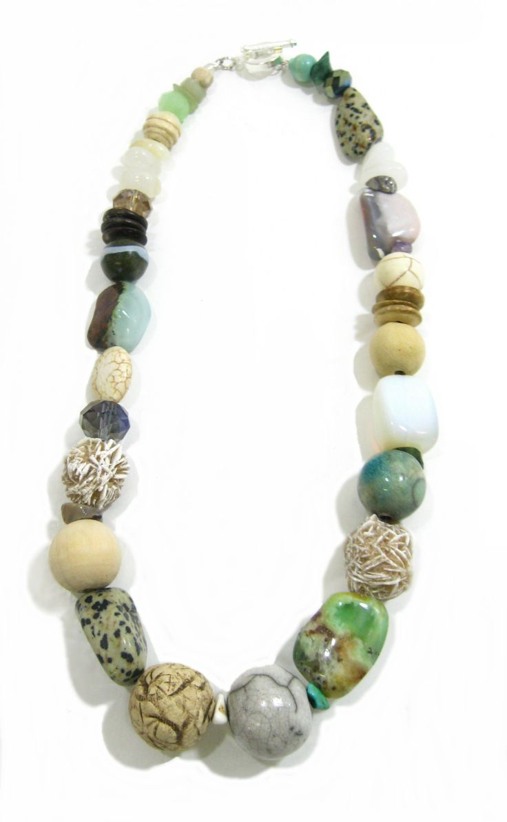Ivory Coast Ceramic and Stone Necklace. Semi-precious stones and handmade ceramic beads. www.marzipan.co.za