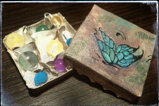 christmas ornaments 1:12 scale miniature box hand painted butterfly vintage/blue/xmas/oppening