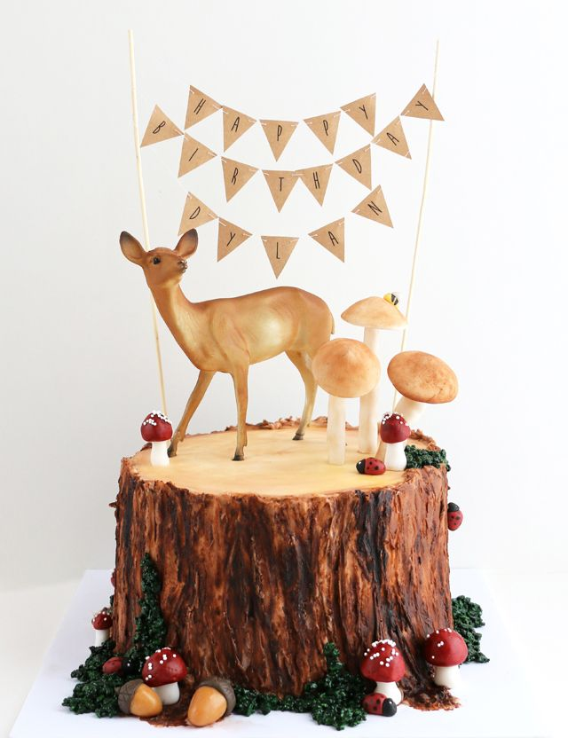 forest tree stump cake
