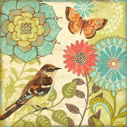 """Nature Garden Butterfly and Bird-Sq"" By Jennifer Brinley."