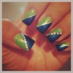 Seattle Seahawks nail art | Love my Seahawks nails!