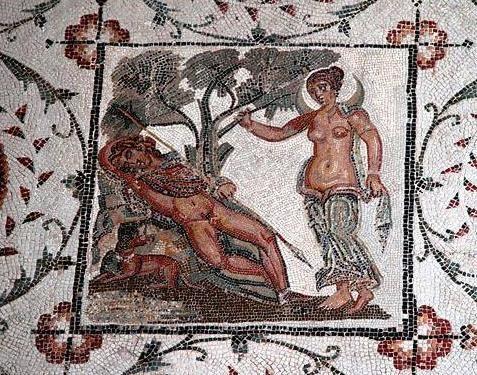 Mosaic of Selene and sleeping  Endymion - Roman period, at the Bardo Museum, Tunisia