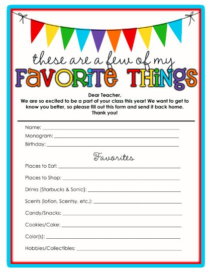 17 best teacher bio book images on pinterest activities life sweet life teachers favorite things template printable update pronofoot35fo Gallery