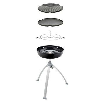 Robust design with a aluminium, 36cm reversible top; one side ribbed and one side flat. The ribbed side is ideal for grilling steaks, fish and hamburger patties, while the flat side is perfect for those breakfast cook-ups of flapjacks, pancakes and traditional bacon and eggs. The cast aluminium ensures consistent, even heat distribution and retention. #gas #bbq #cadac