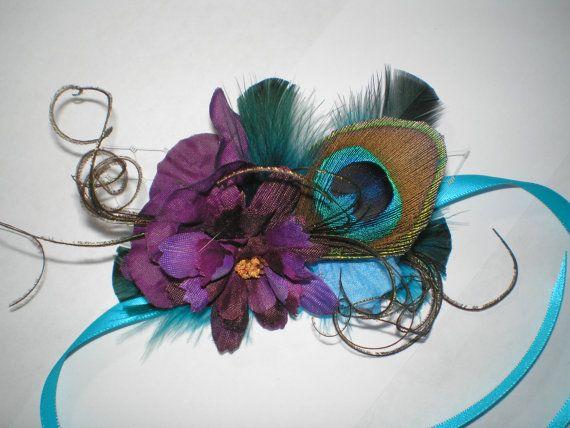 Peacock Feathered Wrist Corsage Wedding by BittysJewelryAndMore, $25.00