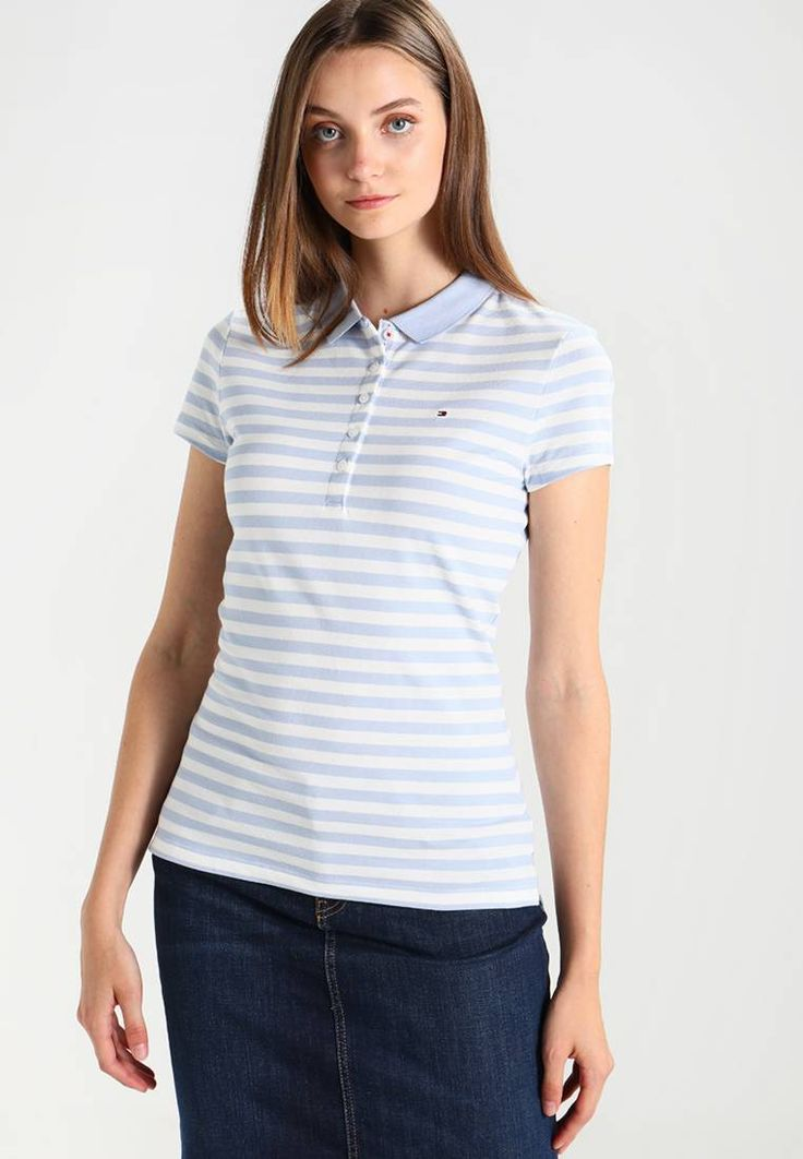 """Tommy Hilfiger. NEW CHIARA  SLIM FIT - Polo shirt - light blue/white. Fit:regular. Our model's height:Our model is 70.0 """" tall and is wearing size S. Outer fabric material:96% cotton, 4% spandex. Care instructions:machine wash at 30°C,Machine wash on gentle cycle. Pa..."""