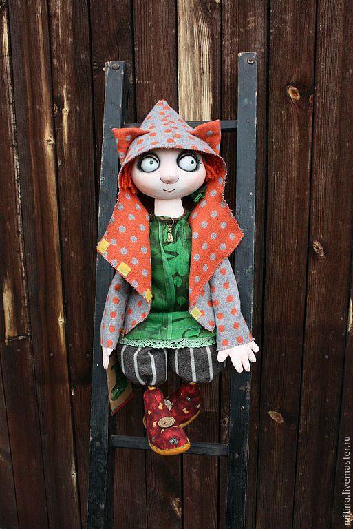 """Купить Авторская кукла """"Рыжая Маша – любительница кошек"""" - Рыжая, кошка, кот"""