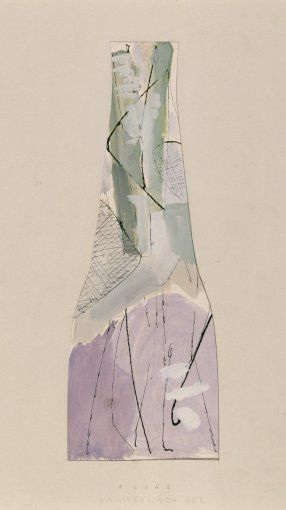 Bohumil Elias, design of glass vase with abstract decoration, gaouche on paper, 45,0 x 20,0 cm, VSUP Prague, 1958 - 63