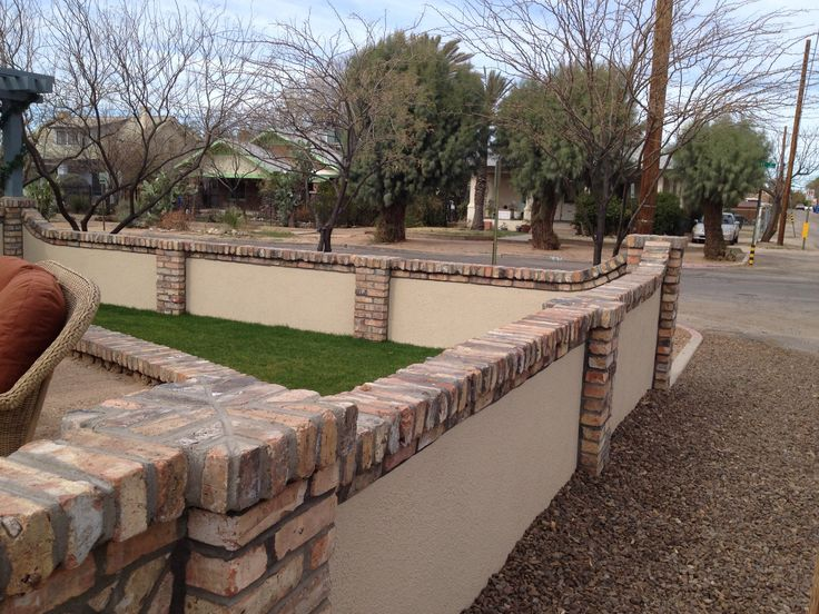 Image Result For Stucco And Brick Retaining Wall Garden