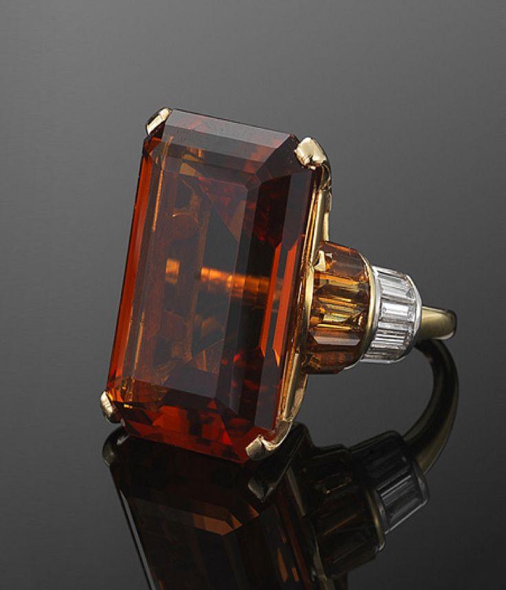Citrine and Diamond Retro Cocktail Ring