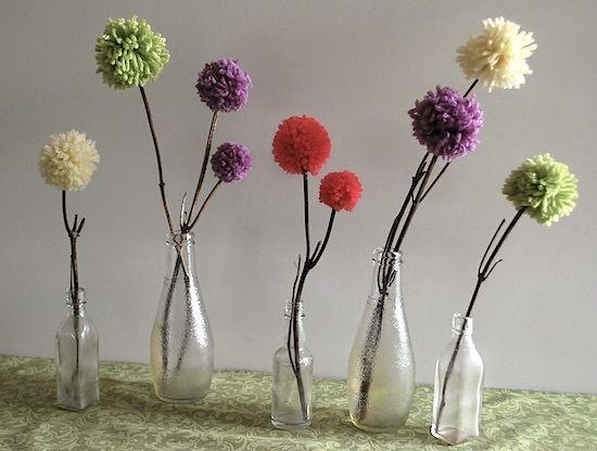 Pom flowers in bottles white.s