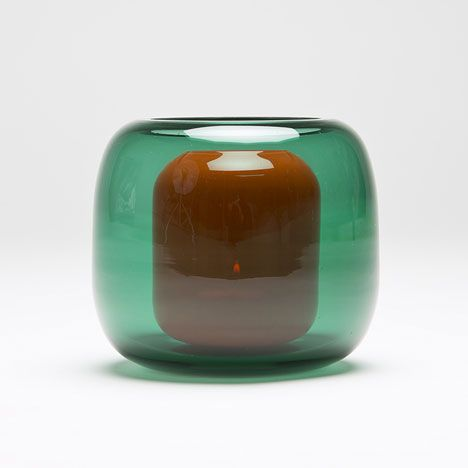 One coloured glass bubble sits within another to form these lanterns