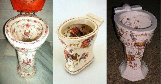 Diferentes modelos en porcelana. WC Victoria de Vic, hecho en Holanda 1912 .  W.C Porcher, Paris 1880.   W.C.Closet' by Shanks & Co. 1895.