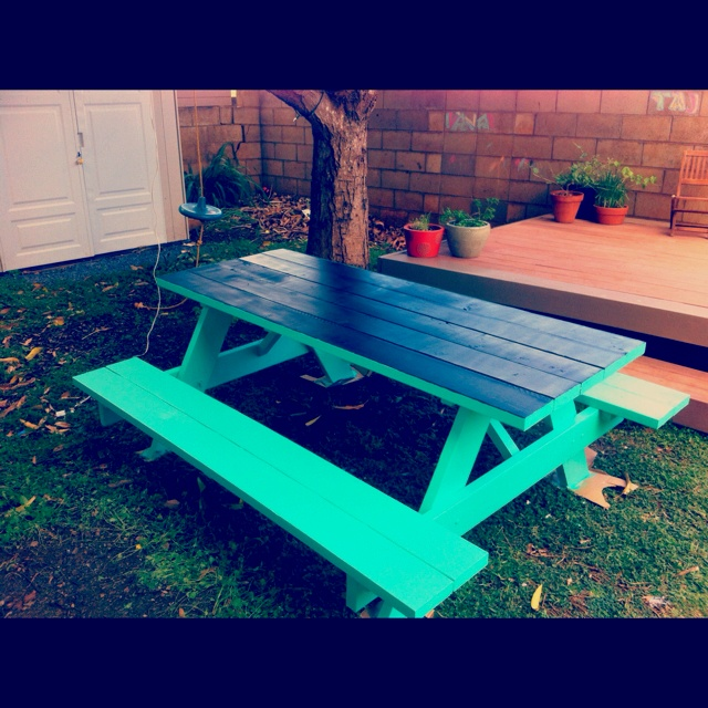 Picnic table with chalkboard painted top such a great for Best paint for yard art