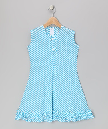 Take a look at this Blue Stripe Bow & Ruffle Sundress - Infant, Toddler & Girls by Vintage Circus on #zulily today!