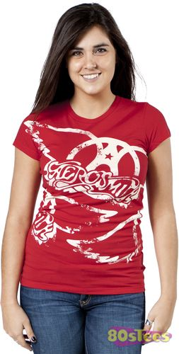 This Aerosmith shirt features the band logo repeating across the front of the Jr Tee.