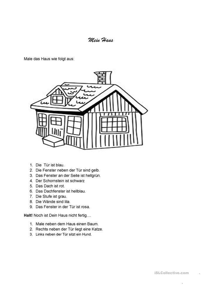 Mein Haus Arbeitsblatter Kindergarten Grundschulklasse Und Vorschulunterricht