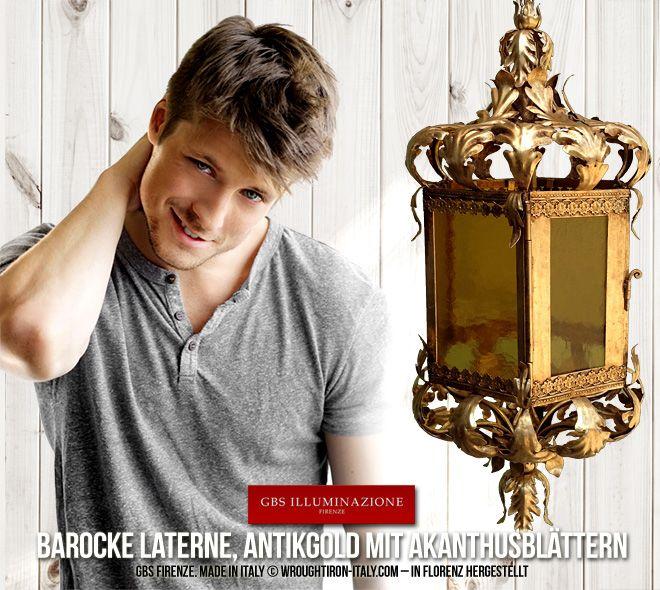 Barocke Laterne, Antikgold mit Akanthusblättern