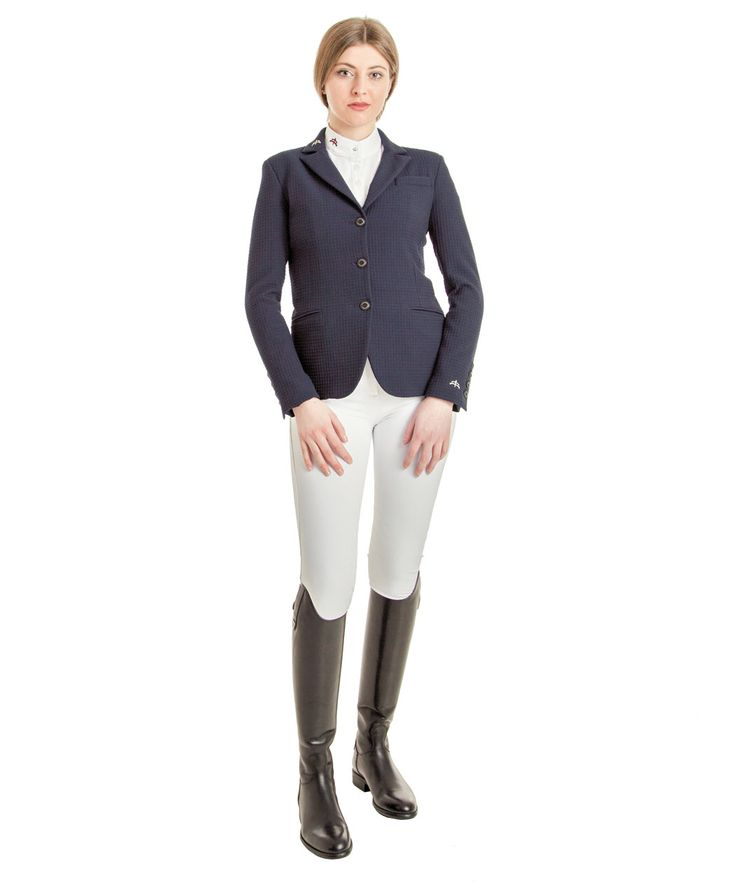 Lady ceramic fabric horse riding jacket model Nagy. To ensure the comfort of movements. Made in Italy. Collection Makebe for the rider