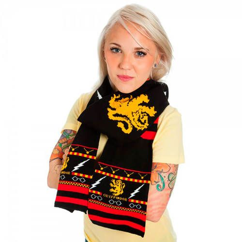 Buy Gryffindor Symbols & Pattern Fair Isle Knit Scarf at TVStoreOnline.com Officially Licensed Harry Potter Merchandise FAST Shipping. SHOP NOW!