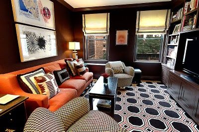 great den: Orange Couch, Living Rooms, Romans Shades, Color, Videos Games Rooms, Media Rooms, Small Spaces, Orange Sofas, Dark Wall