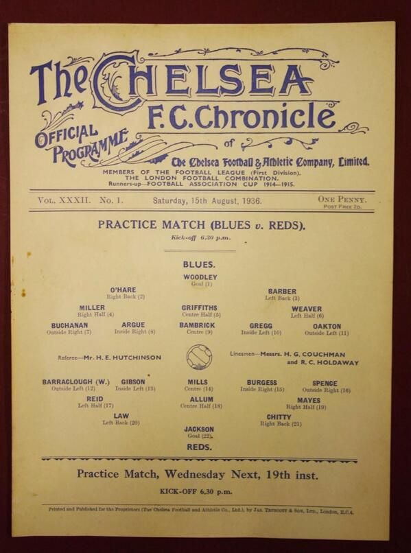 1936 Chelsea FC programme - not quite 'modern' yet via @Zoe Chan