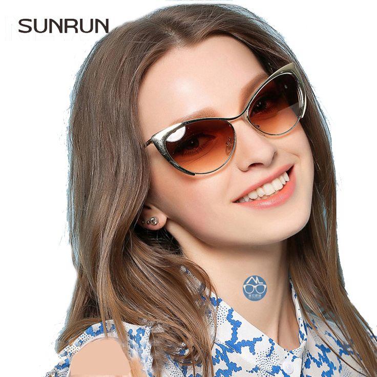 SUNRUN Cat Eye  Sunglasses Women Gold Metal Gafas de sol Reflective Summer Female Vintage Sexy Occhiali da sole 3116
