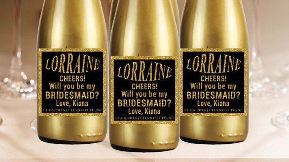 Check out this item in my Etsy shop https://www.etsy.com/listing/287970579/custom-mini-champagne-label-bridesmaid