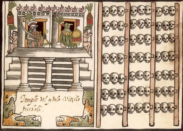 """depiction of a tzompantli (""""skull rack""""), right half of image; associated with the depiction of Aztec temple dedicated to the deity Huitzilopochtli. From the 1587 Aztec manuscript, the Codex Tovar."""