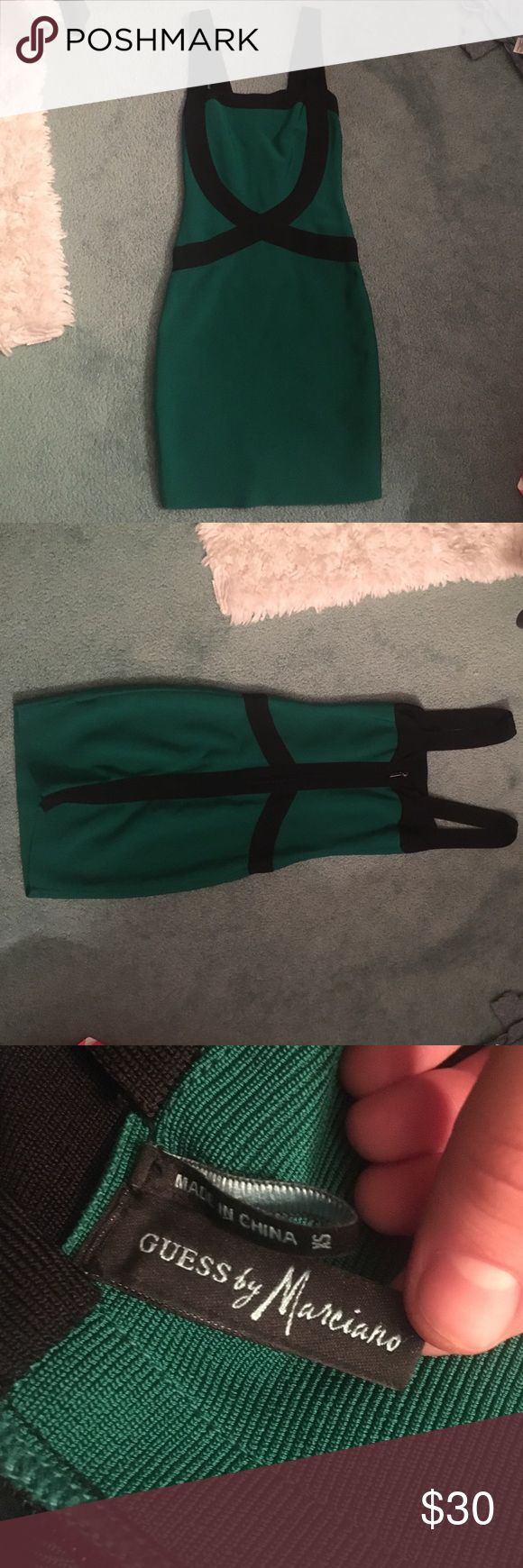 Green Guess dress Green knee length dress Guess by Marciano xs, tight fitting Guess by Marciano Dresses