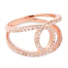 Rose gold plated sterling silver cubic zirconia open link ring