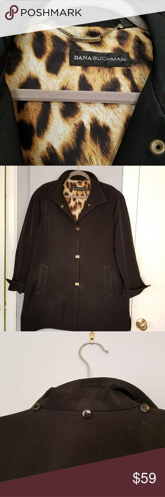 Dana Buchman Coat Black rain jacket/light coat with leopard print lining. Great condition. Dana Buchman Jackets & Coats