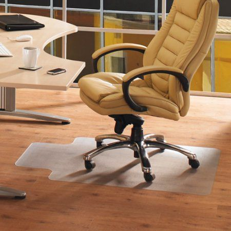 Cleartex AdvantageMat 36 inch x 48 inch Rectangle with Lip Smooth Back Chairmat - For Hard Floors, Beige