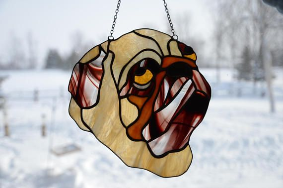 Stained Glass Dog Sun Catcher