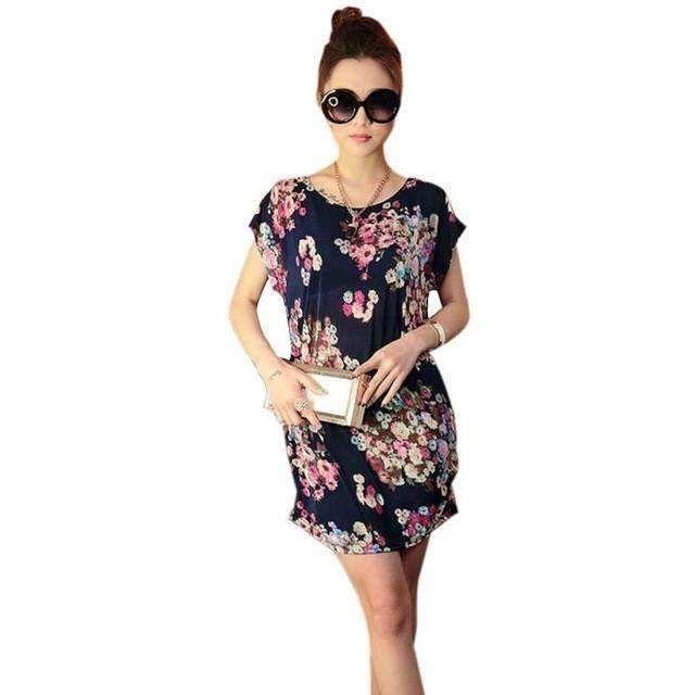 Women Tops Women Short Sleeves women blouses Loose Batwing Sleeve Blusas FemininasPrint Mini Dress Shirt Blouse #LYW