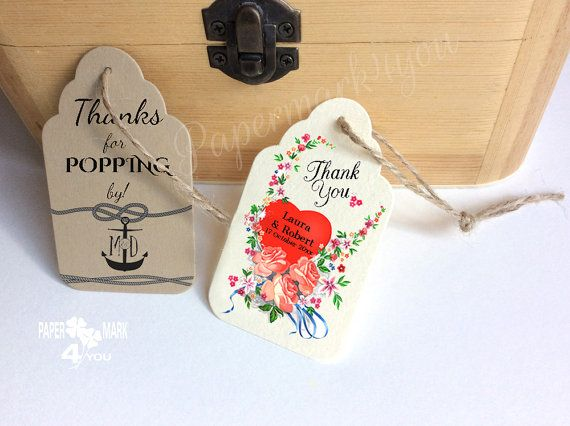 25 Personalized Wedding Tags _Floral Favor by PaperMark4You