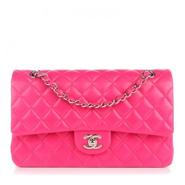 CHANEL Lambskin Quilted Medium Double Flap Dark Pink ❤ liked on Polyvore featuring bags, handbags, pink shoulder bag, shoulder bag, chanel shoulder bag, quilted chain shoulder bag and shoulder bag purse