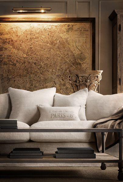 Sitting room: Frames Maps, Old World Maps, Living Rooms, Restoration Hardware, Vintage Maps, Cities Maps, Old Maps, Sit Rooms, French Chic