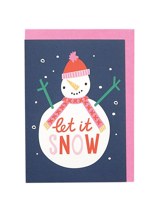 Raspberry Blossom Let it Snow Christmas Card Holiday Inspiration