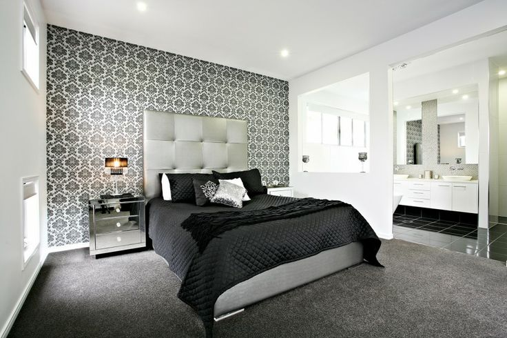 Bedroom wonderful black and white bedroom decoration with for Grey feature wallpaper bedroom