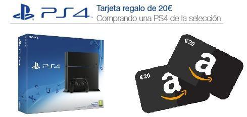 ¡Promoción PS4! Compra una PS4 y llévate 20€ en tarjeta regalo para Videojuegos en Amazon.