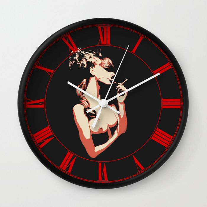 "Sex & Cigarette Wall Clock Available in natural wood, black or white frames, our 10"" diameter unique #Wall #art #Clocks feature a high-impact plexiglass crystal face and a backside hook for easy hanging. Choose black or white hands to match your wall clock frame and art design choice. Clock sits 1.75"" deep and requires 1 AA battery (not included)."