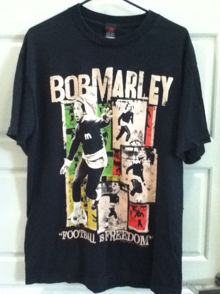 efa4f229e97 Bob Marley Mens Size Large Shirt Football Is Freedom Black Soccer Made In  USA #Zion #GraphicTee
