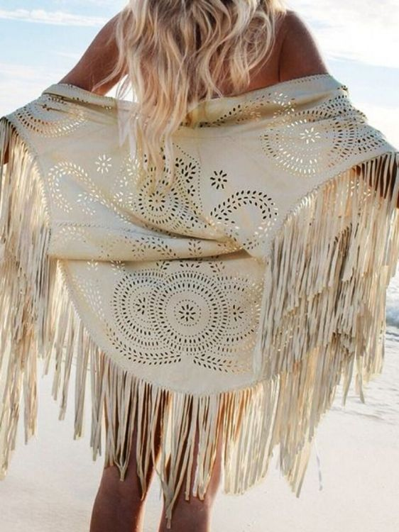Beige poncho med fransar i Indian American Native style