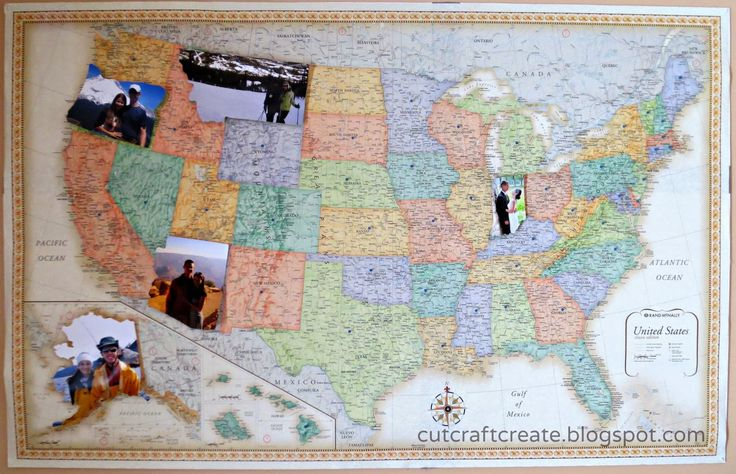 Personalized Photo Map.  Beautiful DIY gift for anniversary, birthday, Christmas, Valentine's Day, home decor & more!  Pictures cut out in shape of states. #cutcraftcreate
