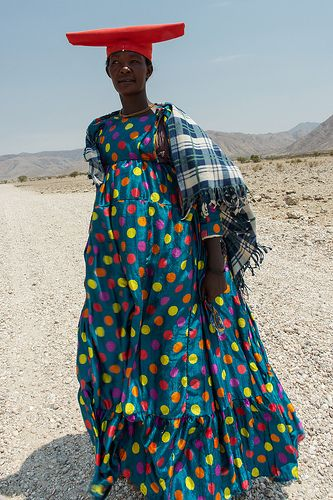 herero on the road. Namibia: