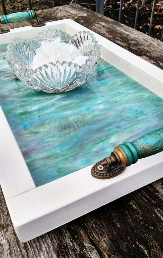 Hey, I found this really awesome Etsy listing at https://www.etsy.com/listing/202977629/serving-tray-wood-with-aqua-art-glass