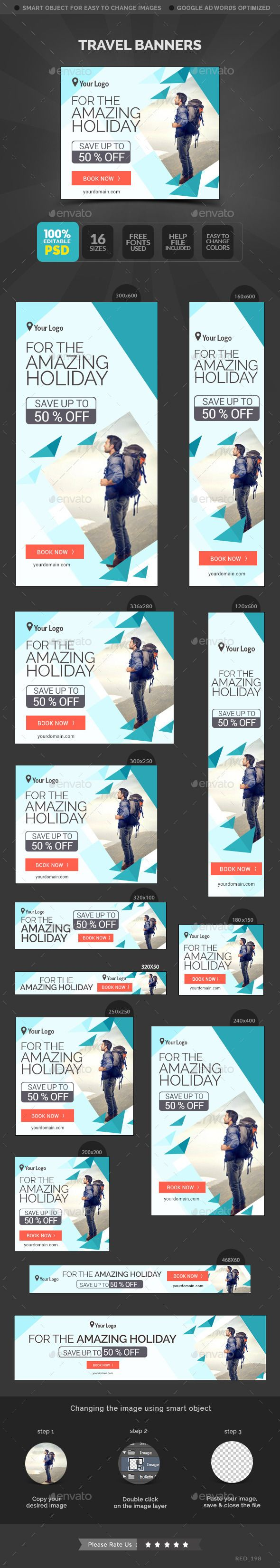 Travel Banners Template #design Download: http://graphicriver.net/item/travel-banners/11455111?ref=ksioks